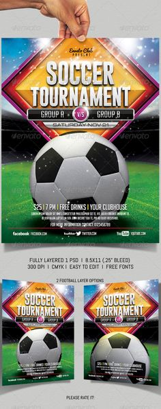 Soccer Summer Flyer Template | Flyer Template, Graphics And Event