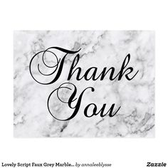 Lovely Script Faux Grey Marble Thank You Postcard