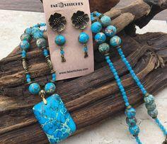 "Blue Sea Sediment Jasper And Bronze Necklace Earrings Set - ""Blue Fire"""