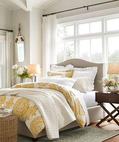 Pottery Bedroom...love yellow in a bedroom.