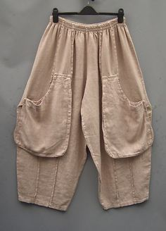 La Bass~ Just in ~BISCUIT~ Linen Tulip Baggy Pocket Trousers ~Size 2 (18-24) | eBay