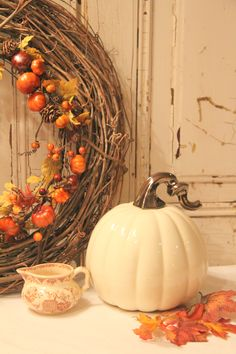 grapevine wreath, white pumpkin decoration