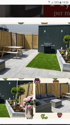 Tuin Small Backyard Gardens, Backyard Garden Design, Small Backyard Landscaping, Small Garden Design, Garden Spaces, Back Gardens, Outdoor Gardens, Contemporary Garden Design, Backyard Playground