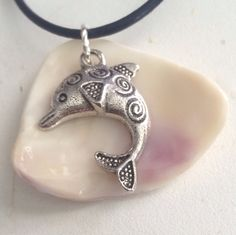 Wampum 19 Cord Necklace with Dolphin by CarolesDesign on Etsy, $35.00