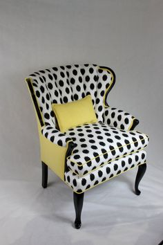 SOLD-CAN REPLICATE Vintage Channel Back Chair in Black/White Ikat and Yellow Linen