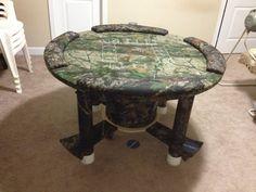 Oak poker table products i love pinterest poker poker table homemade poker table out of a spool watchthetrailerfo