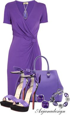 Royal purple, with lavender accessories.