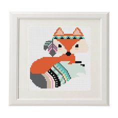 Boho fox schematic cross stitch scheme Boho by AnimalsCrossStitch
