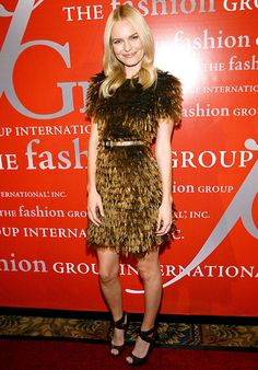 Kate Bosworth wore a feathered Burberry Prorsum dress to the Fashion Group International's 25th Annual Night of Stars in New York City (2008).