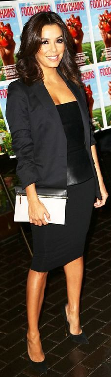 Eva Longoria's white clutch handbag and black suede pumps ID