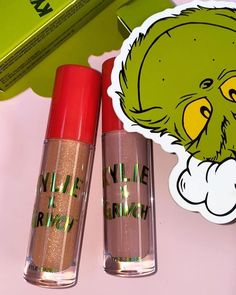 meet our grinch high glosses 💚 perfect to wear alone or to put over your favorite lippie ✨ we added red ribbon to the packaging of each gloss so you can keep it and hang it on your tree as a grinch ornament 🎄🥰 11.19
