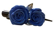 Blue color flower Banana pins (two flowers), made of imported  rubber sheets, beautifully designed and crafted by village   women, giving a new fashion style to hair accessories.   Color: Blue   Material: Imported Rubber sheets  Base material: Imported plastic Banana pin