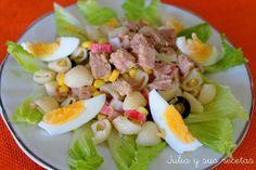 Ensalada - Receta Entrante : Ensalada de pasta con atun por Juliaysusrecetas