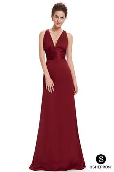 Burgundy long deep v formal dress. >>Click to view more. Choose from 1500+ formal dresses at SheProm.com! Cheap with free shipping..