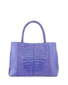 NANCY GONZALEZ Small Sectional Crocodile Tote Bag, Periwinkle. #nancygonzalez #bags #hand bags #tote #