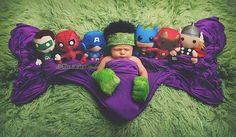 Adorable Super Hero Newborn photography