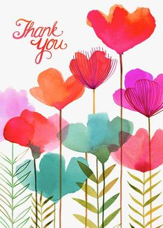 Art, illustration, hand lettering, design, murals and more. Thank You Images, Thank You Messages, Thank You Cards, Watercolor Cards, Watercolor Flowers, Watercolor Paintings, Guache, Birthday Wishes, Birthday Greetings