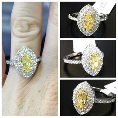 Another master piece done by us! A beautiful yellow marquise cut diamond with halo surrounding with round brilliant cut white diamonds! A must have for any occasion