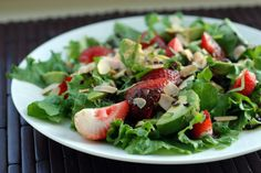 Yes, you can have chocolate in your salad. You're welcome. Strawberry, Avocado and Mint Salad with a Chocolate Balsamic Vinaigrette.