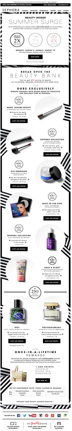 Listed out my insider points Landing Page Inspiration, Web Design Inspiration, Email Marketing Design, Email Design, Loyalty Marketing, Email Layout, Email Newsletter Design, Beauty And The Best, Bourbon