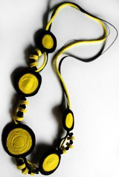 Crazy Black and Yellow Long Necklace