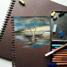 Sketchbook pages - Pastel swan painting