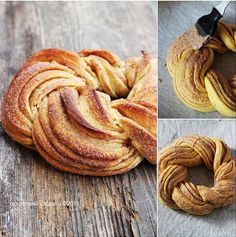 Estonian Kringel or Braided Cinnamon Wreath - this looks delicious, but can't imagine mine will ever come out looking this good - from Totally Love It Cinnamon Twists, Cinnamon Bread, Cinnamon Rolls, Cinnamon Butter, Tea Loaf, Breakfast Recipes, Dessert Recipes, Braided Bread, Dessert Bread