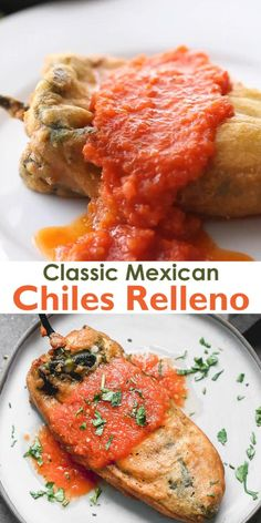 Chiles Relleno is a classic Mexican dish consisting of roasted poblano chiles that are stuffed with cheese dipped in egg batter and fried to golden perfection. Cover them with salsa roja and youre in heaven. Easy Chile Relleno Recipe, Stuffed Chili Relleno Recipe, Chili Relleno Casserole, Chili Relleno Recipe Authentic, Raw Food Recipes, Mexican Food Recipes, Cooking Recipes, Mexican Desserts, Cooking Tips