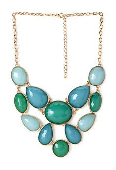 teal, blue, and sly blue chunky pendant necklace, F21 UK