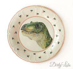 Vintage - illustré - Floral - Chine - dinosaure - T Rex - plaque - Upcycled - mur écran - modifiée - plaque Antique