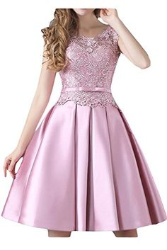 Sunvary Lace Satin Short Bridesmaid Dress Cocktail Homeco...