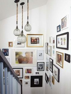 New Ideas For Wall Gallery Layout Hallways Basements Displaying Family Pictures, Display Family Photos, Family Photos On Wall, Family Photo Walls, Hanging Family Photos, Display Pictures, Gallery Wall Staircase, Stair Art, Gallery Wall Layout