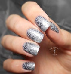 Misa Grey Matters stamped (XL-O) with China Glaze Awaken and Essie No Place Like Chrome. By reddit user Chanfie.