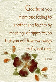 """""""God turns you from one feeling to another and teaches by means of opposites so that you will have two wings to fly, not one.""""  Rumi"""