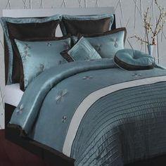 DR International Splendor Emb 8 Piece Comforter Set in Aqua/Brown