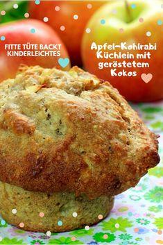 Dieser umwerfende leckerer vegane Muffin mit Apfel - Kohlrabi und gerösteten Kokosflocken wird dich umhauen! Lass uns nicht lang schnacken - lass uns backen... Kokosraspel (Flocken) goldbraun anrösten - Äpfel und Kohlrabi schnibbeln - wenn ihr Datteln nehmt - dann püriert die Datteln in Wasser glatt - alles zusammen zu einem schönen geschmeidigen Teig verrühren. 30 min bei 180° Ober/Unterhitze backen (Umluft trocknet Gebäck immer so aus - versucht es lieber mit Ober/Unterhitze) - GUTEN… Baked Potato, Potatoes, Baking, Breakfast, Ethnic Recipes, Food, Simple, Vegan Muffins, Baked Apples