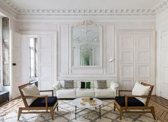 Rug, moldings, green cushion, chairs, brass @pfairytale Paris Apartment