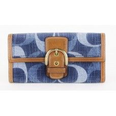 #Coach Blue Denim Signature Wallet