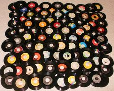 1960's & 1970's Music - Lot of 90 Vinyl 45 rpm Records for Party Decorating or Craft Projects -  7 inch