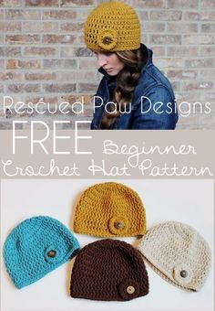 Crochet Circle Button Hat Pattern :: Rescued Paw Designs