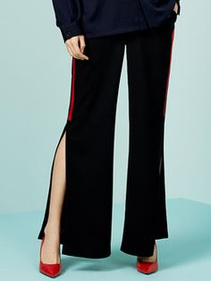 Black Polyester Pockets Flared Pants