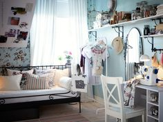 cute room from Ikea Ikea Sewing Rooms, My Sewing Room, Ikea Bedroom, Home Decor Bedroom, Room Setup, Decoration, Home And Living, Living Spaces, Sweet Home