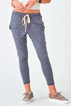 The Crow Collective Journey Pant in Moroccan Midnight is a laid back lounge pant with a drop crotch design. Ultra soft and luxurious, this navy colored pant is perfect for those lazy days and long weekends. Boasting a relaxed fit that Patterned Leggings, Blue Leggings, Cute Things For Girls, Buy Bra, Jogger Sweatpants, Colored Pants, Drop Crotch, Lazy Days, Navy Color