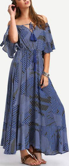 Navy Off The Shoulder Tie-waist Maxi Dress. Beautiful dress for the price. Material is nice and the print is perfect for the warm weather. By Shein