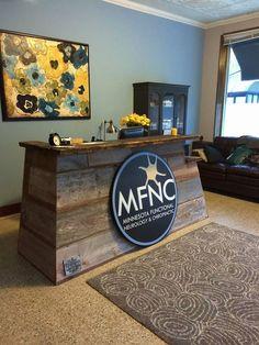 Reclaimed Siding on a custom designed Brand Reserve Reception Desk