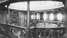 The dome of the grand staircase on the boat deck just forward of the second funnel.