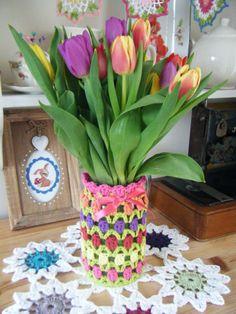 Crochet Tulip Jar Cosy