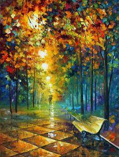 Autumn Painting by Leonid Afremov Park Bench Night Lights Rain Colors