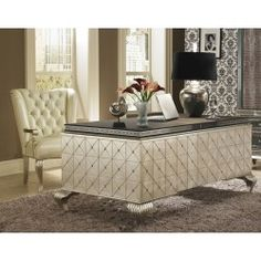 Office Furniture with - Shaw - Bella Luna - Chardonnay Carpet - AICO Hollywood Swank Desk