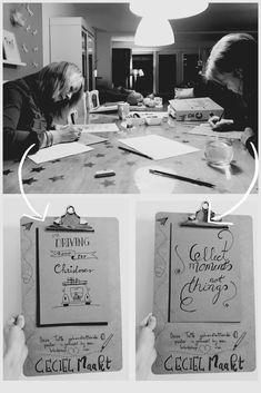 Prive tekenparty 😉. Marina en Brigitta kwamen gezellig bij mij thuis tekenen. Met een lach en onder een relaxed muziekje leerde ze de basis handlettering en maakte zelf een super leuke quote. Prachtig resultaat lady s! Wil jij dat ook?! Check dan mijn website voor de mogelijkheden. Place Cards, Workshop, Place Card Holders, Website, Atelier, Work Shop Garage